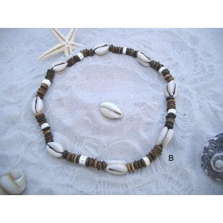 Necklace of coconut and cowrie shells